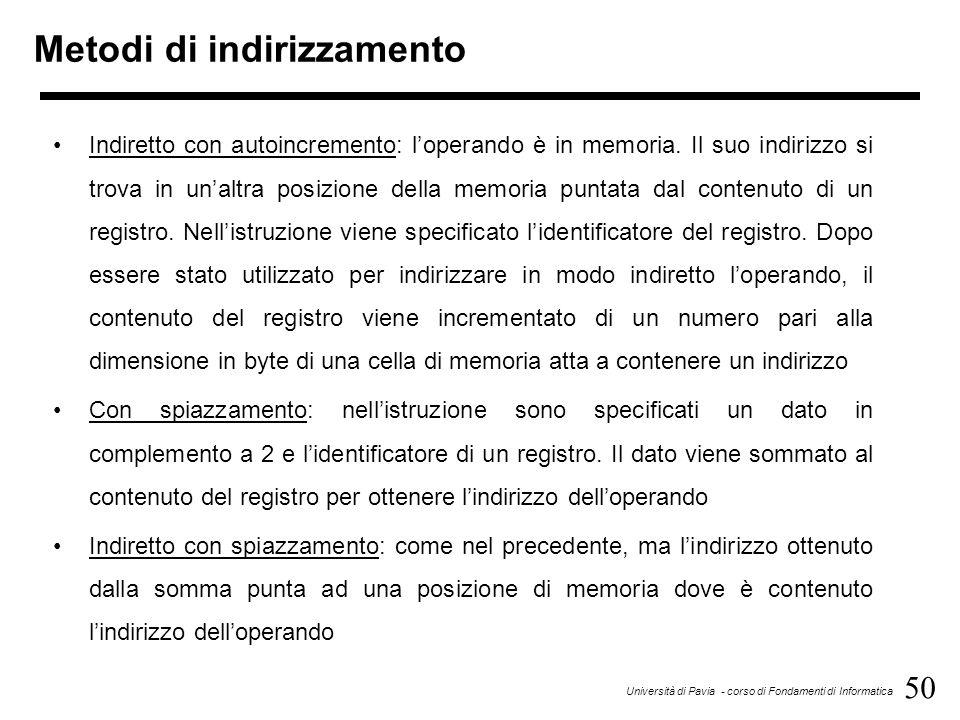 50 Università di Pavia - corso di Fondamenti di Informatica Metodi di indirizzamento Indiretto con autoincremento: l'operando è in memoria. Il suo ind