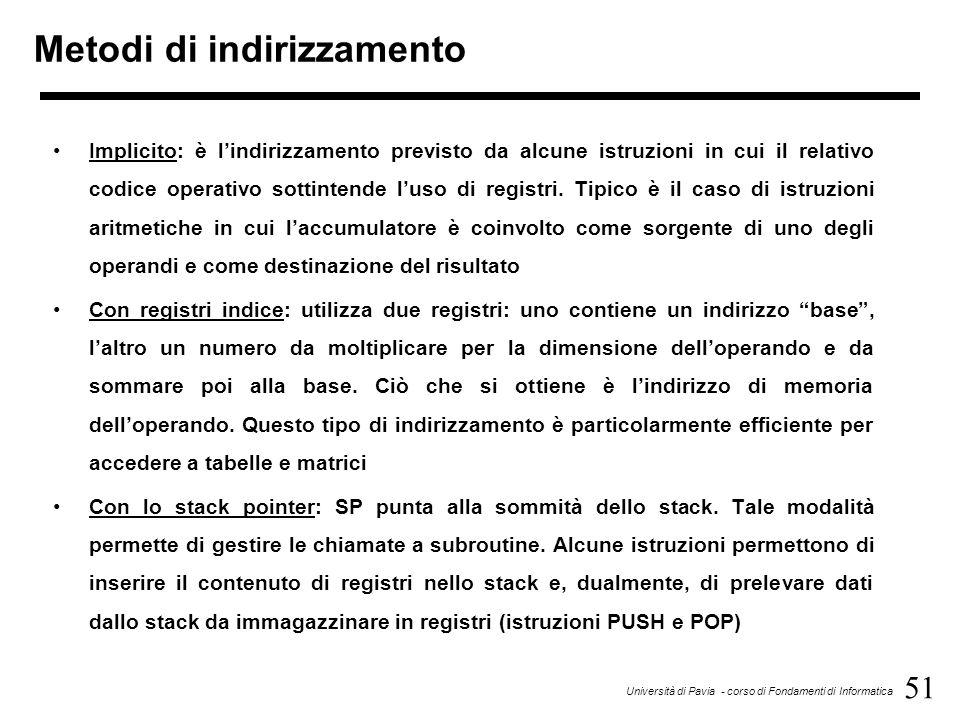 51 Università di Pavia - corso di Fondamenti di Informatica Metodi di indirizzamento Implicito: è l'indirizzamento previsto da alcune istruzioni in cu