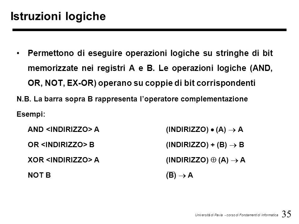 35 Università di Pavia - corso di Fondamenti di Informatica Istruzioni logiche Permettono di eseguire operazioni logiche su stringhe di bit memorizzat