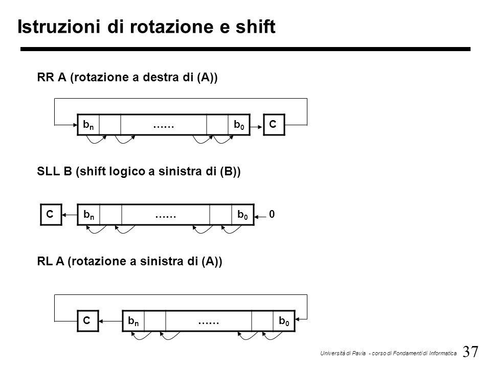 37 Università di Pavia - corso di Fondamenti di Informatica Istruzioni di rotazione e shift bnbn ……b0b0 C RR A (rotazione a destra di (A)) bnbn ……b0b0