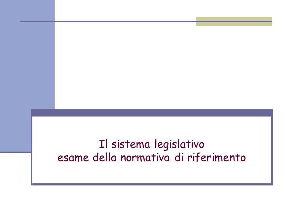 Il sistema legislativo esame della normativa di riferimento