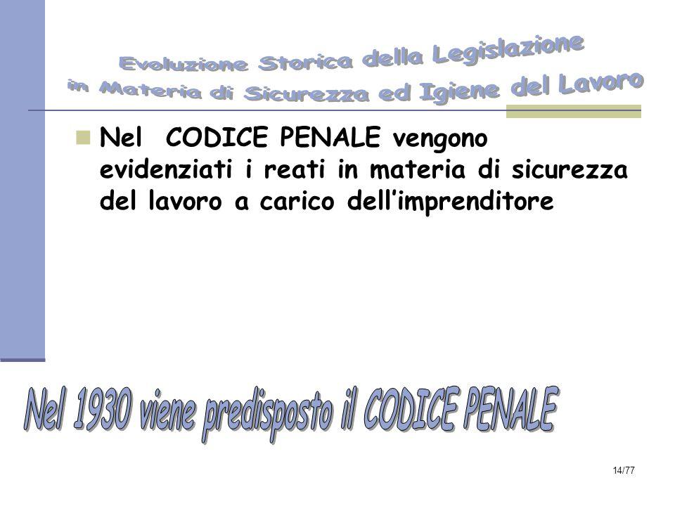 14/77 Nel CODICE PENALE vengono evidenziati i reati in materia di sicurezza del lavoro a carico dell'imprenditore