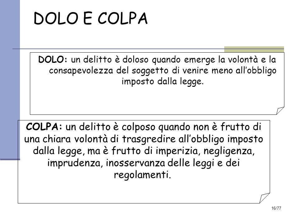 16/77 DOLO E COLPA DOLO: un delitto è doloso quando emerge la volontà e la consapevolezza del soggetto di venire meno all'obbligo imposto dalla legge.