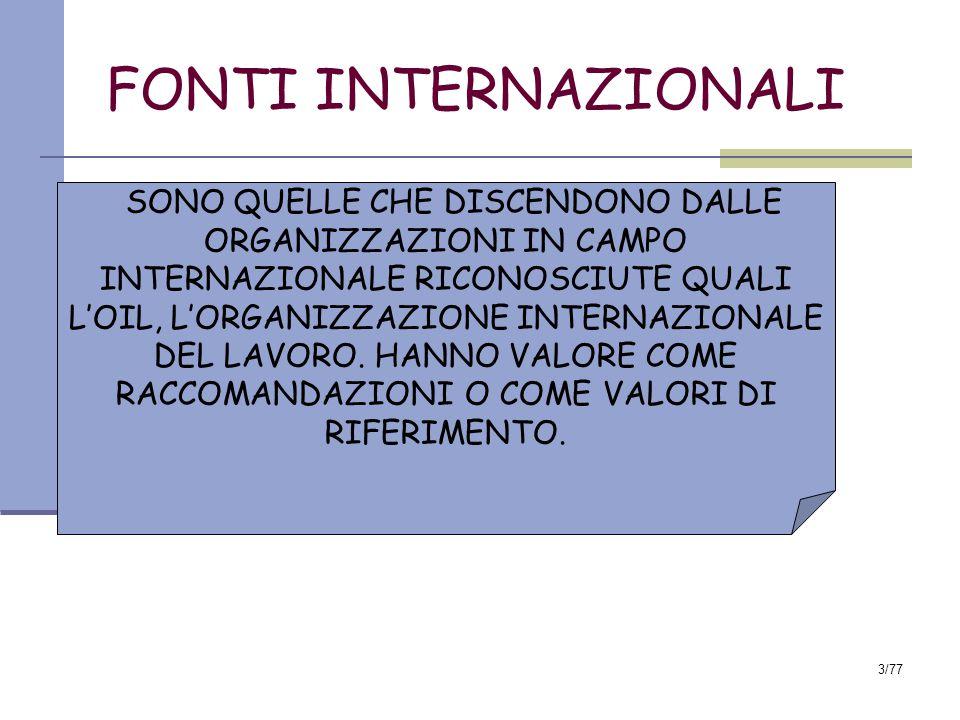 3/77 FONTI INTERNAZIONALI SONO QUELLE CHE DISCENDONO DALLE ORGANIZZAZIONI IN CAMPO INTERNAZIONALE RICONOSCIUTE QUALI L'OIL, L'ORGANIZZAZIONE INTERNAZIONALE DEL LAVORO.