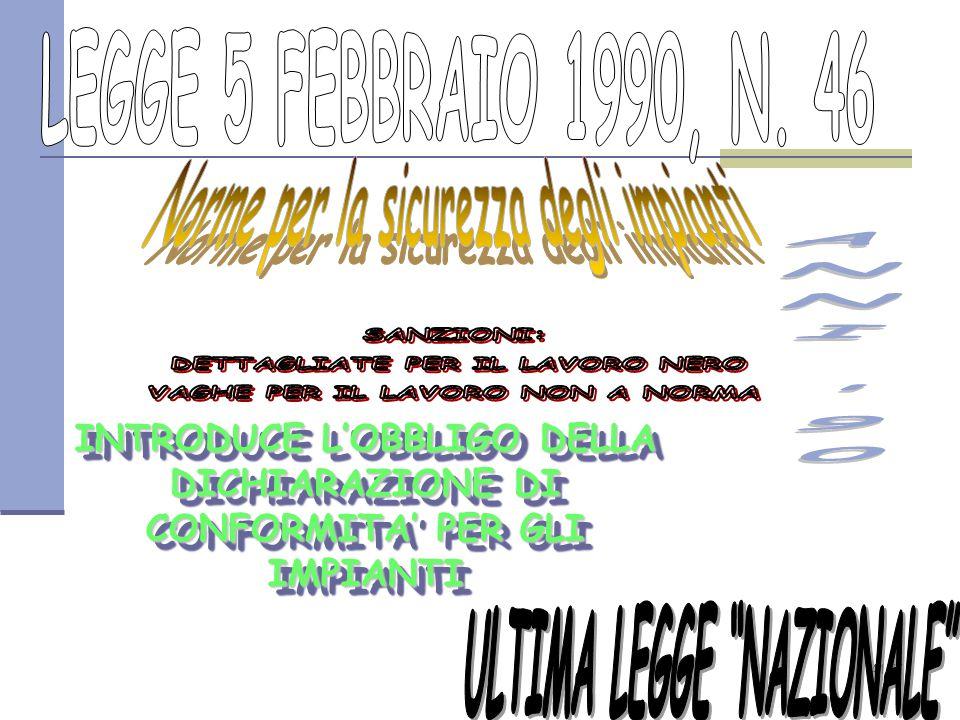 41/77 INTRODUCE L'OBBLIGO DELLA DICHIARAZIONE DI CONFORMITA' PER GLI IMPIANTI