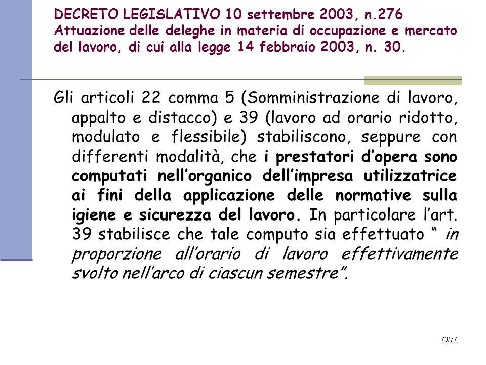 73/77 DECRETO LEGISLATIVO 10 settembre 2003, n.276 Attuazione delle deleghe in materia di occupazione e mercato del lavoro, di cui alla legge 14 febbraio 2003, n.