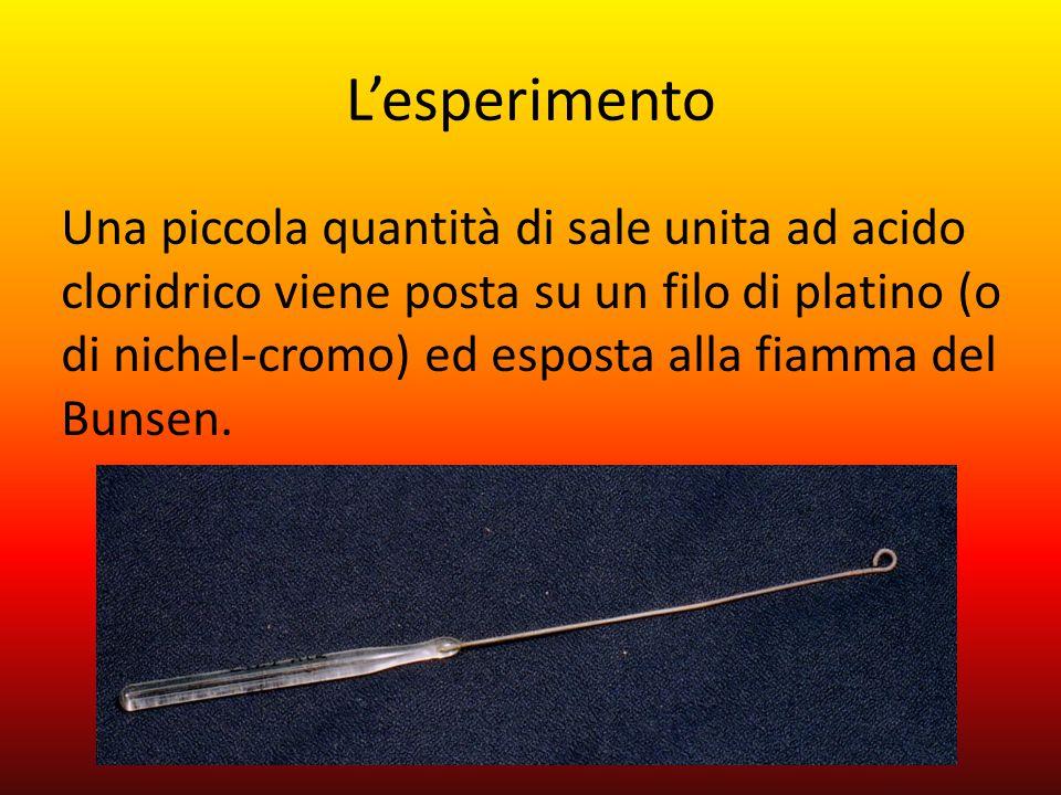 L'esperimento Una piccola quantità di sale unita ad acido cloridrico viene posta su un filo di platino (o di nichel-cromo) ed esposta alla fiamma del