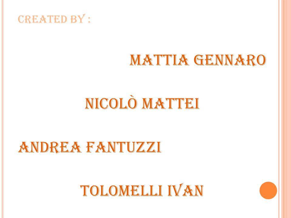 Created by : Mattia Gennaro Nicolò Mattei Andrea Fantuzzi Tolomelli Ivan