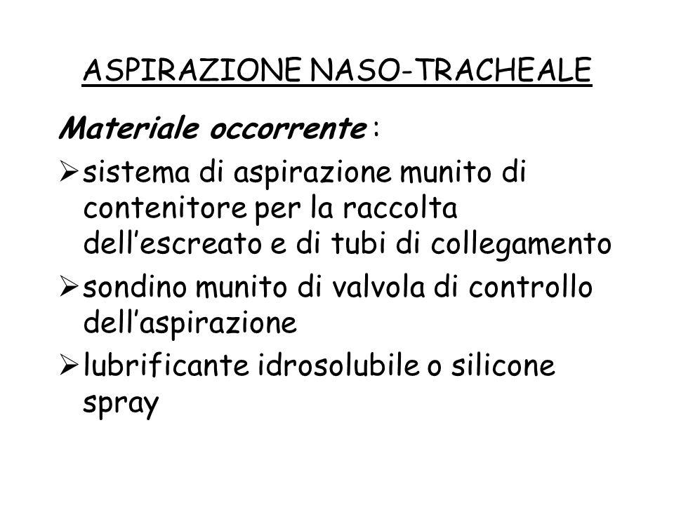 ASPIRAZIONE NASO-TRACHEALE Materiale occorrente :  sistema di aspirazione munito di contenitore per la raccolta dell'escreato e di tubi di collegamen