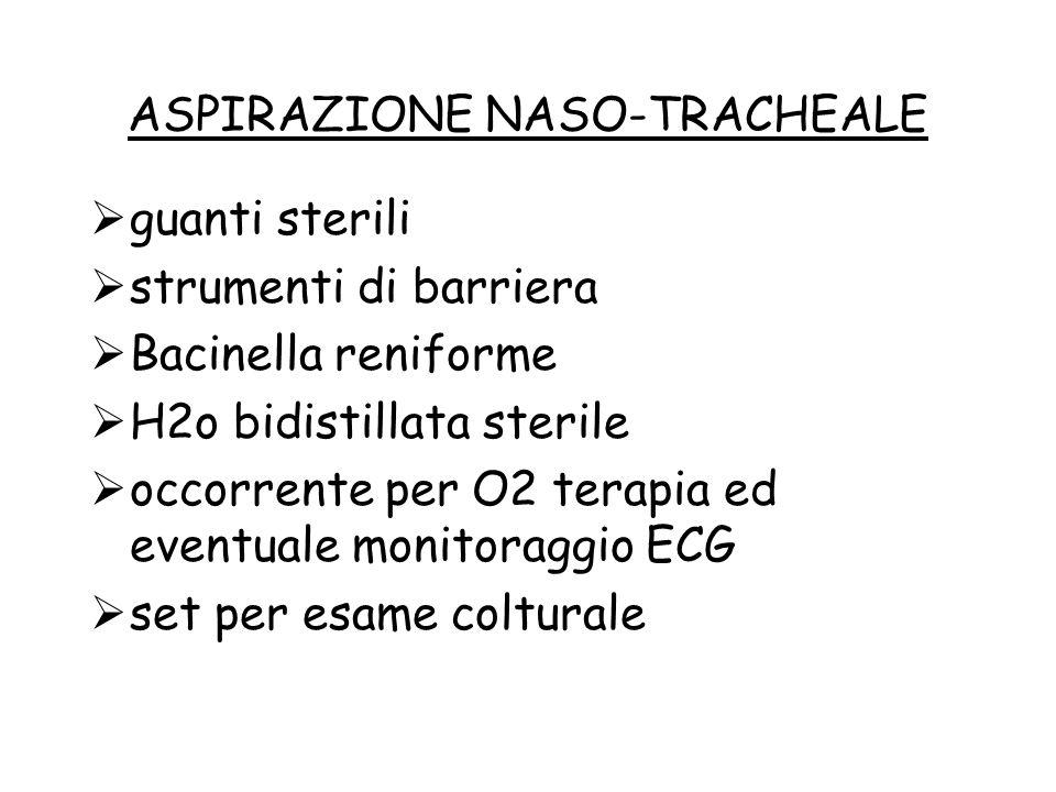 ASPIRAZIONE NASO-TRACHEALE  guanti sterili  strumenti di barriera  Bacinella reniforme  H2o bidistillata sterile  occorrente per O2 terapia ed ev