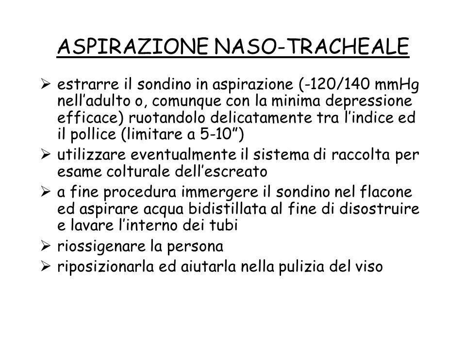 ASPIRAZIONE NASO-TRACHEALE  estrarre il sondino in aspirazione (-120/140 mmHg nell'adulto o, comunque con la minima depressione efficace) ruotandolo