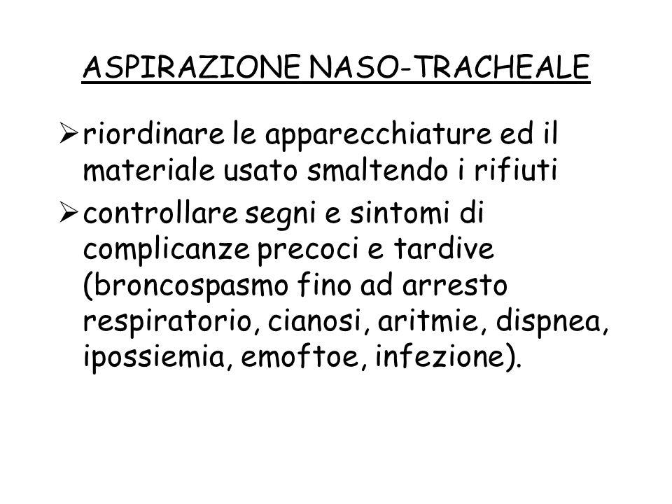 ASPIRAZIONE NASO-TRACHEALE  riordinare le apparecchiature ed il materiale usato smaltendo i rifiuti  controllare segni e sintomi di complicanze prec