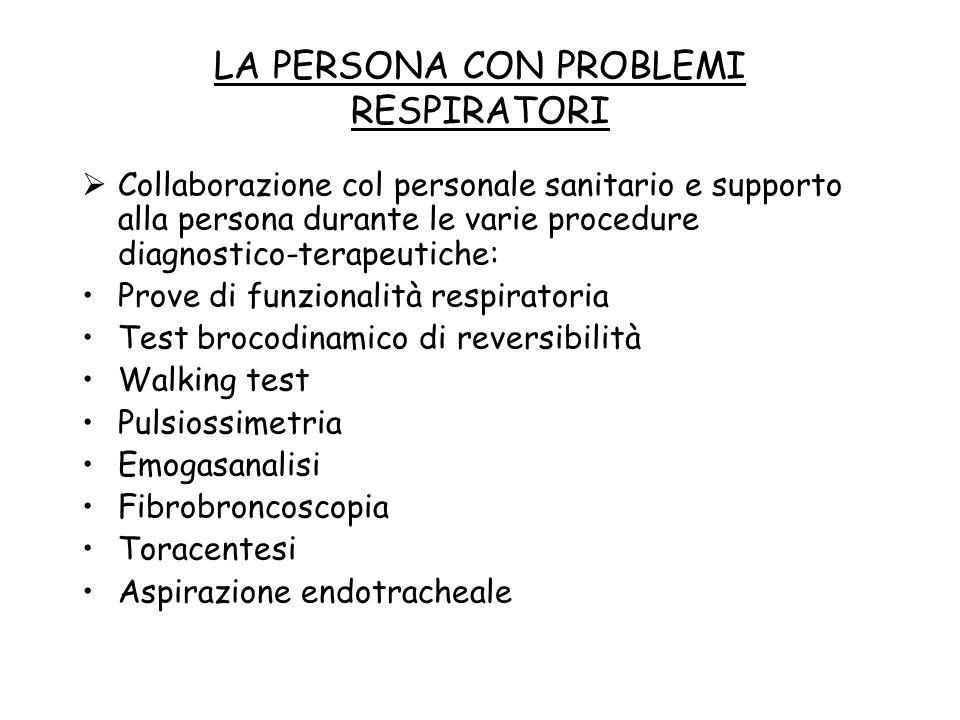 LA PERSONA CON PROBLEMI RESPIRATORI  Collaborazione col personale sanitario e supporto alla persona durante le varie procedure diagnostico-terapeutic