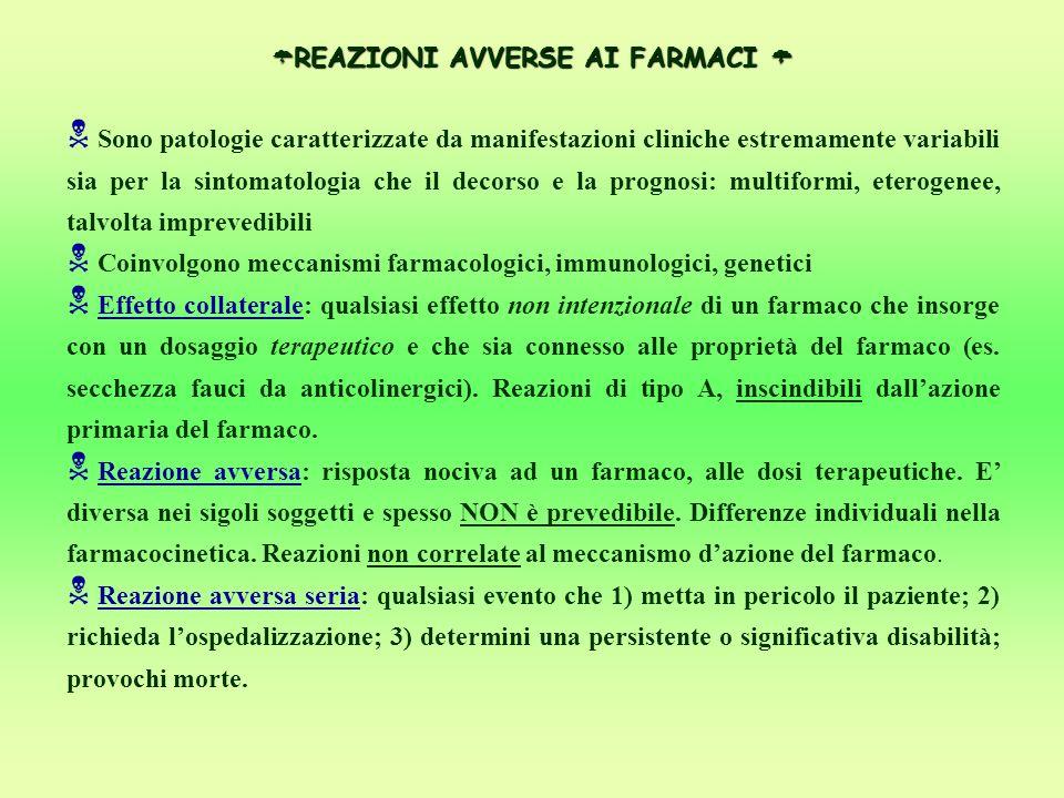  REAZIONI AVVERSE AI FARMACI   Sono patologie caratterizzate da manifestazioni cliniche estremamente variabili sia per la sintomatologia che il dec