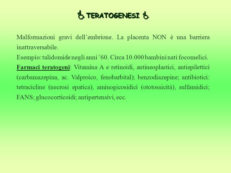  TERATOGENESI  Malformazioni gravi dell'embrione. La placenta NON è una barriera inattraversabile. Esempio: talidomide negli anni '60. Circa 10.000
