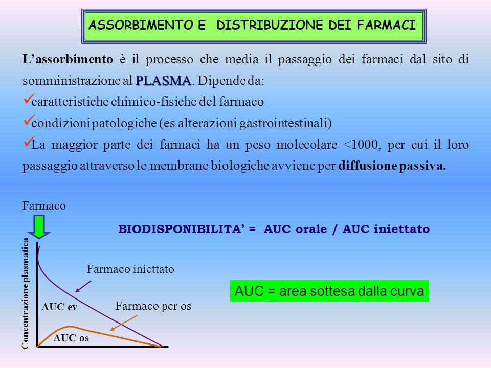 PLASMA L'assorbimento è il processo che media il passaggio dei farmaci dal sito di somministrazione al PLASMA. Dipende da: caratteristiche chimico-fis