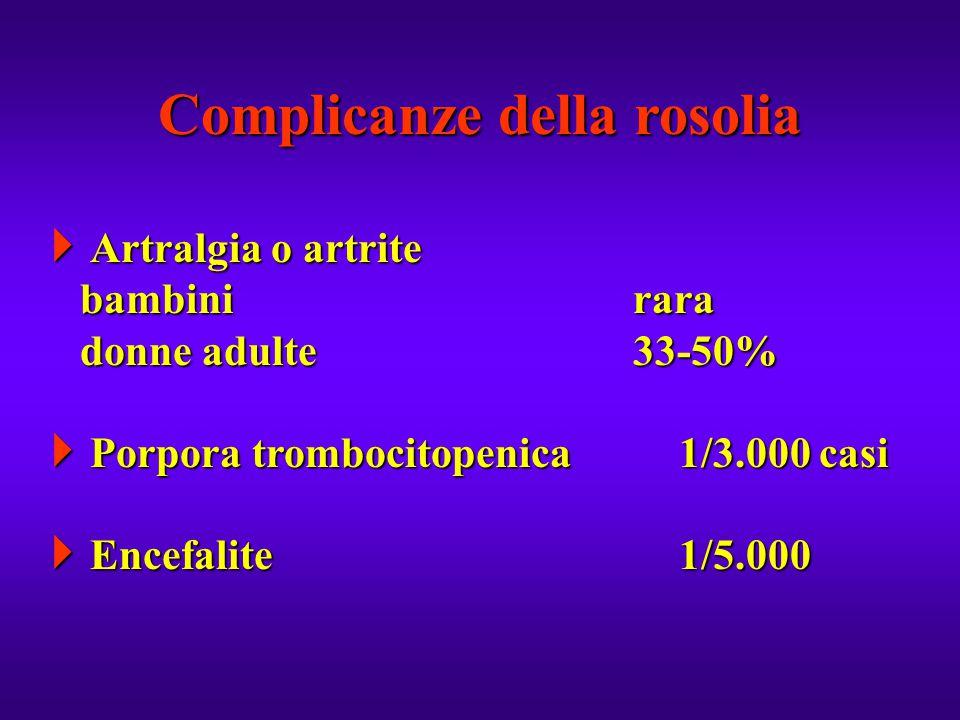  Artralgia o artrite bambinirara donne adulte33-50%  Porpora trombocitopenica1/3.000 casi  Encefalite1/5.000 Complicanze della rosolia