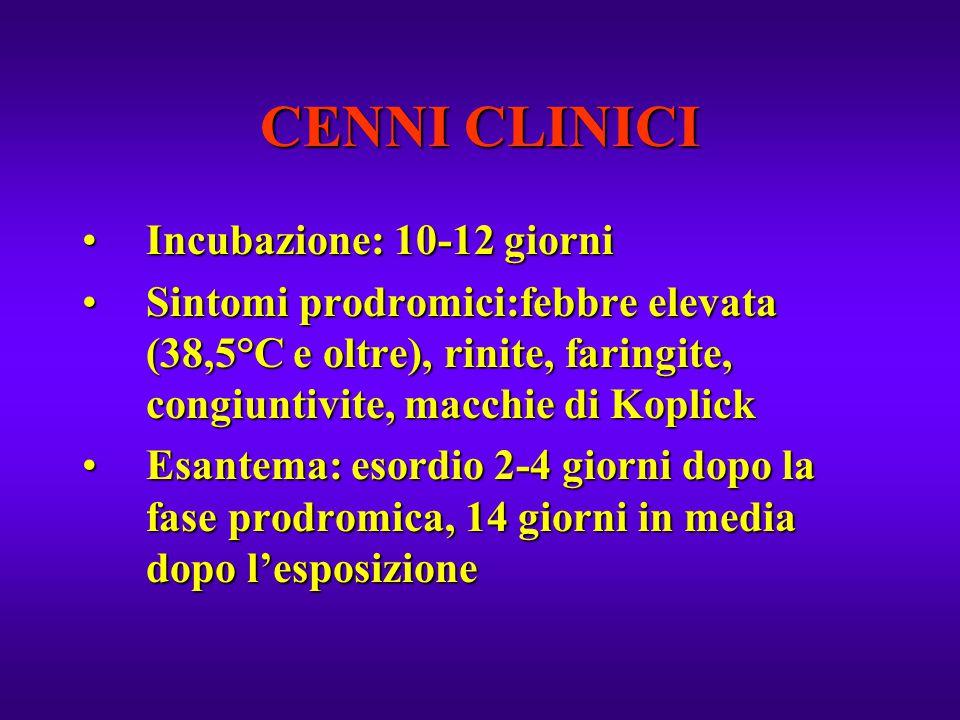 CENNI CLINICI Incubazione: 10-12 giorniIncubazione: 10-12 giorni Sintomi prodromici:febbre elevata (38,5°C e oltre), rinite, faringite, congiuntivite,