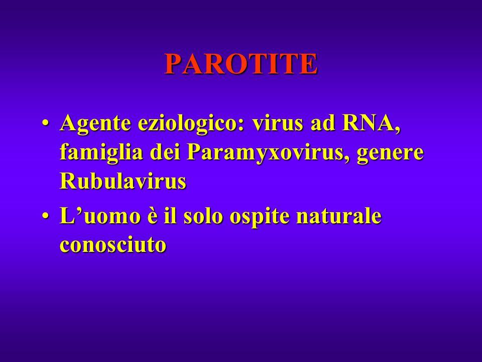PAROTITE Agente eziologico: virus ad RNA, famiglia dei Paramyxovirus, genere RubulavirusAgente eziologico: virus ad RNA, famiglia dei Paramyxovirus, g