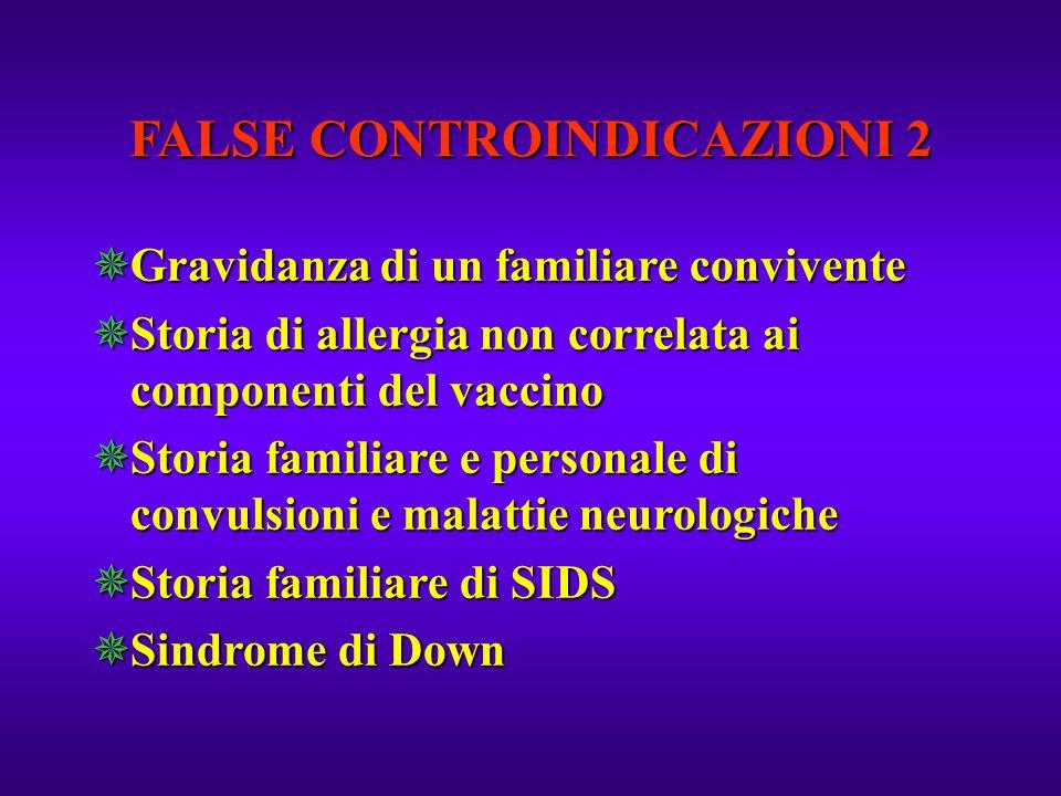 FALSE CONTROINDICAZIONI 2  Gravidanza di un familiare convivente  Storia di allergia non correlata ai componenti del vaccino  Storia familiare e pe