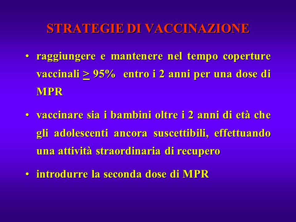 STRATEGIE DI VACCINAZIONE raggiungere e mantenere nel tempo coperture vaccinali > 95% entro i 2 anni per una dose di MPRraggiungere e mantenere nel te
