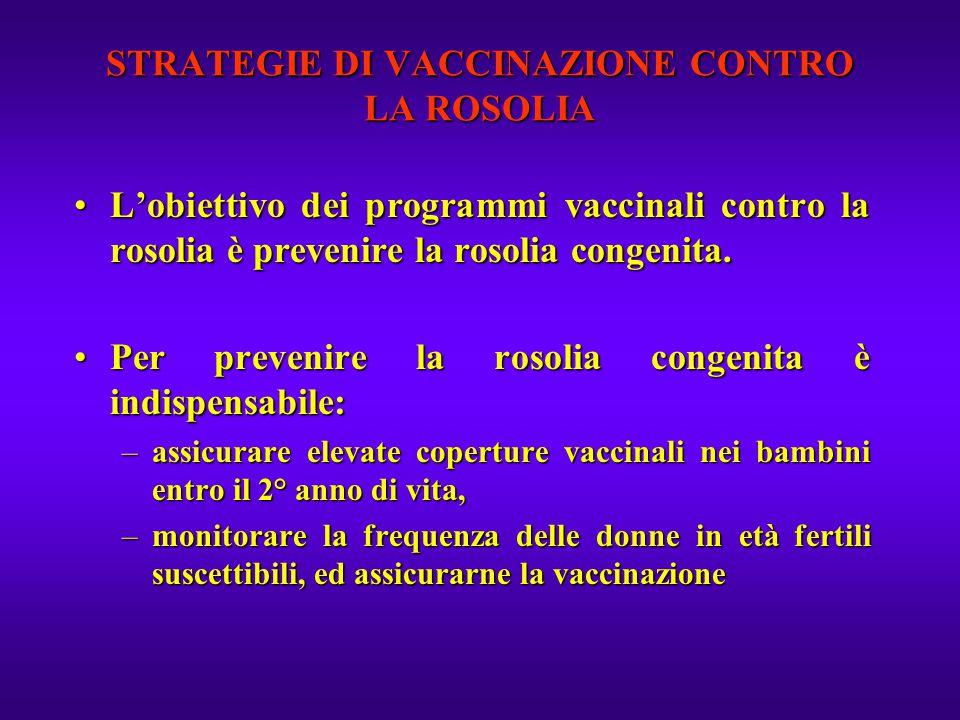 STRATEGIE DI VACCINAZIONE CONTRO LA ROSOLIA L'obiettivo dei programmi vaccinali contro la rosolia è prevenire la rosolia congenita.L'obiettivo dei pro