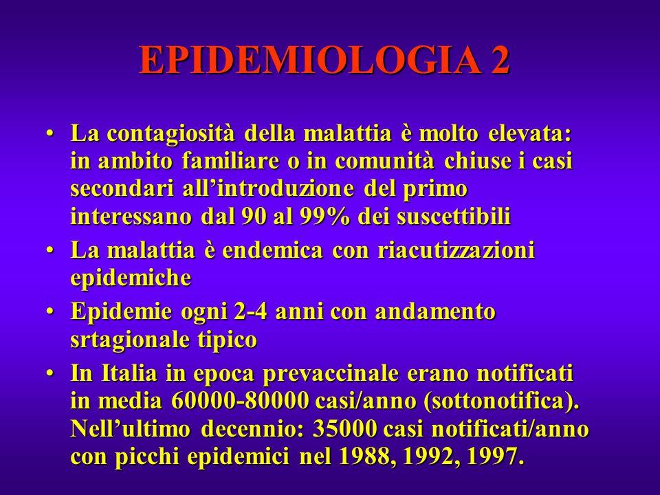 EPIDEMIOLOGIA 2 La contagiosità della malattia è molto elevata: in ambito familiare o in comunità chiuse i casi secondari all'introduzione del primo i