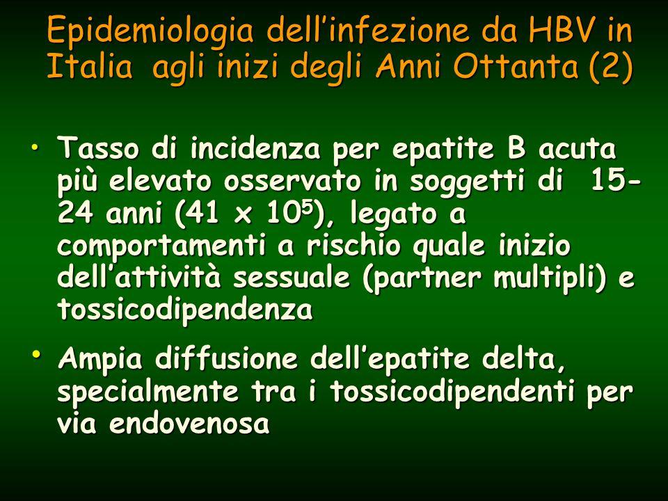 Epidemiologia dell'infezione da HBV in Italia agli inizi degli Anni Ottanta (2) Tasso di incidenza per epatite B acuta più elevato osservato in soggetti di 15- 24 anni (41 x 10 5 ), legato a comportamenti a rischio quale inizio dell'attività sessuale (partner multipli) e tossicodipendenzaTasso di incidenza per epatite B acuta più elevato osservato in soggetti di 15- 24 anni (41 x 10 5 ), legato a comportamenti a rischio quale inizio dell'attività sessuale (partner multipli) e tossicodipendenza Ampia diffusione dell'epatite delta, specialmente tra i tossicodipendenti per via endovenosa Ampia diffusione dell'epatite delta, specialmente tra i tossicodipendenti per via endovenosa