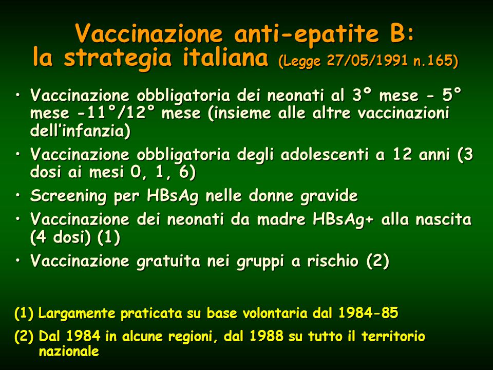 Vaccinazione anti-epatite B: la strategia italiana (Legge 27/05/1991 n.165) Vaccinazione obbligatoria dei neonati al 3º mese - 5° mese -11°/12° mese (insieme alle altre vaccinazioni dell'infanzia)Vaccinazione obbligatoria dei neonati al 3º mese - 5° mese -11°/12° mese (insieme alle altre vaccinazioni dell'infanzia) Vaccinazione obbligatoria degli adolescenti a 12 anni (3 dosi ai mesi 0, 1, 6)Vaccinazione obbligatoria degli adolescenti a 12 anni (3 dosi ai mesi 0, 1, 6) Screening per HBsAg nelle donne gravideScreening per HBsAg nelle donne gravide Vaccinazione dei neonati da madre HBsAg+ alla nascita (4 dosi) (1)Vaccinazione dei neonati da madre HBsAg+ alla nascita (4 dosi) (1) Vaccinazione gratuita nei gruppi a rischio (2)Vaccinazione gratuita nei gruppi a rischio (2) (1) Largamente praticata su base volontaria dal 1984-85 (2) Dal 1984 in alcune regioni, dal 1988 su tutto il territorio nazionale
