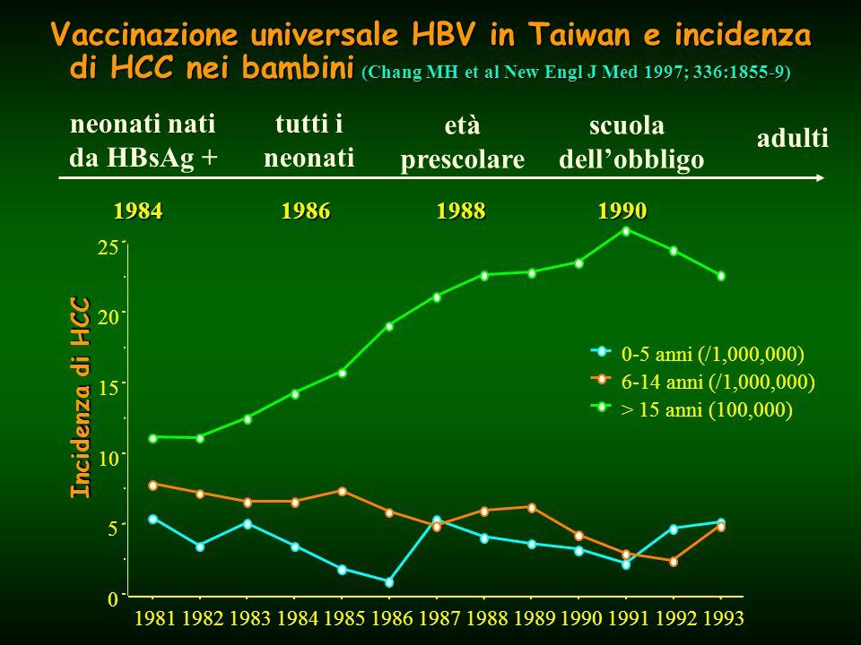 Vaccinazione universale HBV in Taiwan e incidenza di HCC nei bambini (Chang MH et al New Engl J Med 1997; 336:1855-9) 1984 1986 1988 1990 neonati nati da HBsAg + tutti i neonati età prescolare scuola dell'obbligo adulti Incidenza di HCC