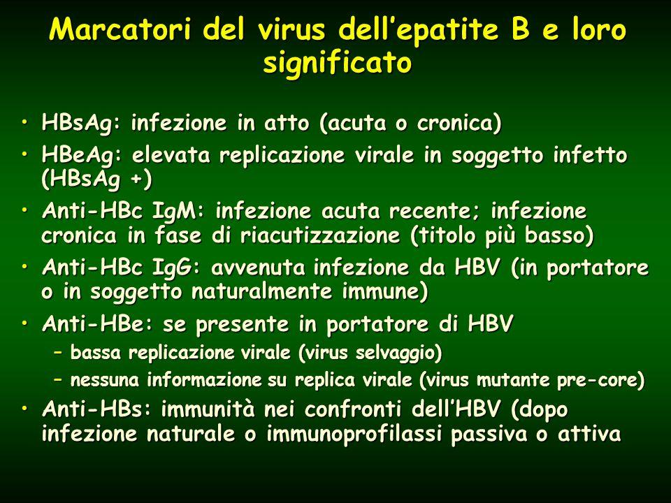 Marcatori del virus dell'epatite B e loro significato HBsAg: infezione in atto (acuta o cronica)HBsAg: infezione in atto (acuta o cronica) HBeAg: elevata replicazione virale in soggetto infetto (HBsAg +)HBeAg: elevata replicazione virale in soggetto infetto (HBsAg +) Anti-HBc IgM: infezione acuta recente; infezione cronica in fase di riacutizzazione (titolo più basso)Anti-HBc IgM: infezione acuta recente; infezione cronica in fase di riacutizzazione (titolo più basso) Anti-HBc IgG: avvenuta infezione da HBV (in portatore o in soggetto naturalmente immune)Anti-HBc IgG: avvenuta infezione da HBV (in portatore o in soggetto naturalmente immune) Anti-HBe: se presente in portatore di HBVAnti-HBe: se presente in portatore di HBV –bassa replicazione virale (virus selvaggio) –nessuna informazione su replica virale (virus mutante pre-core) Anti-HBs: immunità nei confronti dell'HBV (dopo infezione naturale o immunoprofilassi passiva o attivaAnti-HBs: immunità nei confronti dell'HBV (dopo infezione naturale o immunoprofilassi passiva o attiva