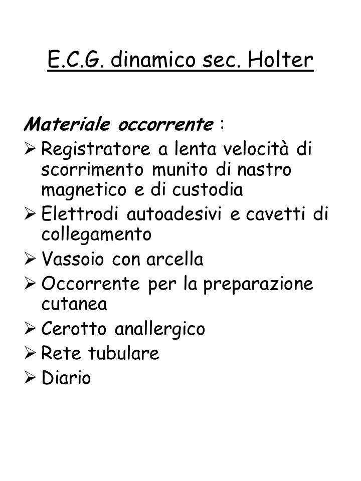Materiale occorrente :  Registratore a lenta velocità di scorrimento munito di nastro magnetico e di custodia  Elettrodi autoadesivi e cavetti di co