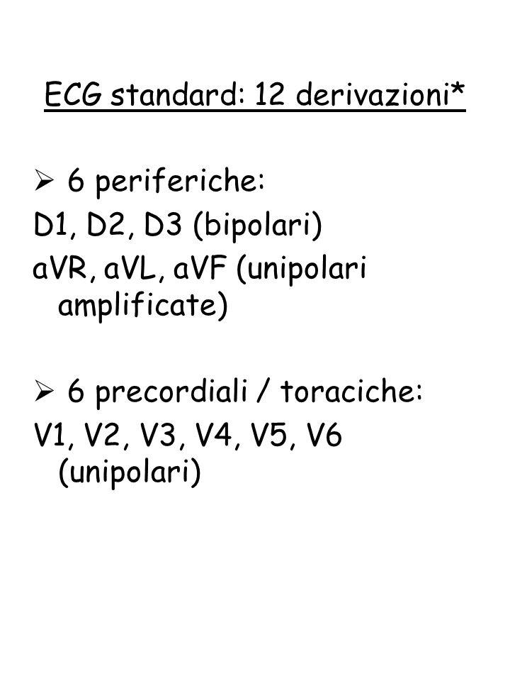  6 periferiche: D1, D2, D3 (bipolari) aVR, aVL, aVF (unipolari amplificate)  6 precordiali / toraciche: V1, V2, V3, V4, V5, V6 (unipolari) ECG stand