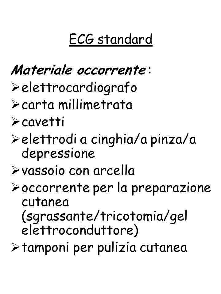 Materiale occorrente :  elettrocardiografo  carta millimetrata  cavetti  elettrodi a cinghia/a pinza/a depressione  vassoio con arcella  occorre