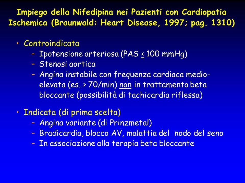 Impiego della Nifedipina nei Pazienti con Cardiopatia Ischemica (Braunwald: Heart Disease, 1997; pag. 1310) Controindicata –Ipotensione arteriosa (PAS