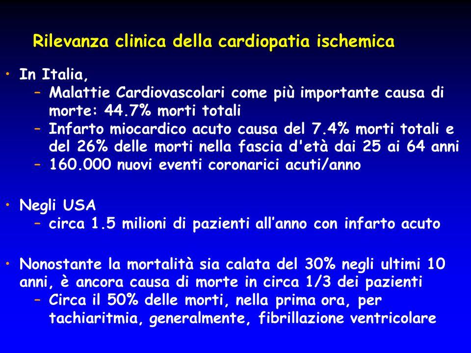 Rilevanza clinica della cardiopatia ischemica In Italia, –Malattie Cardiovascolari come più importante causa di morte: 44.7% morti totali –Infarto mio