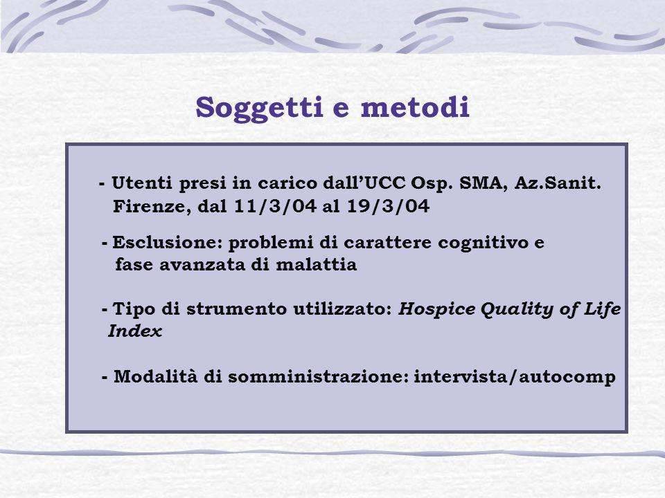Soggetti e metodi - Utenti presi in carico dall'UCC Osp. SMA, Az.Sanit. Firenze, dal 11/3/04 al 19/3/04 - Esclusione: problemi di carattere cognitivo