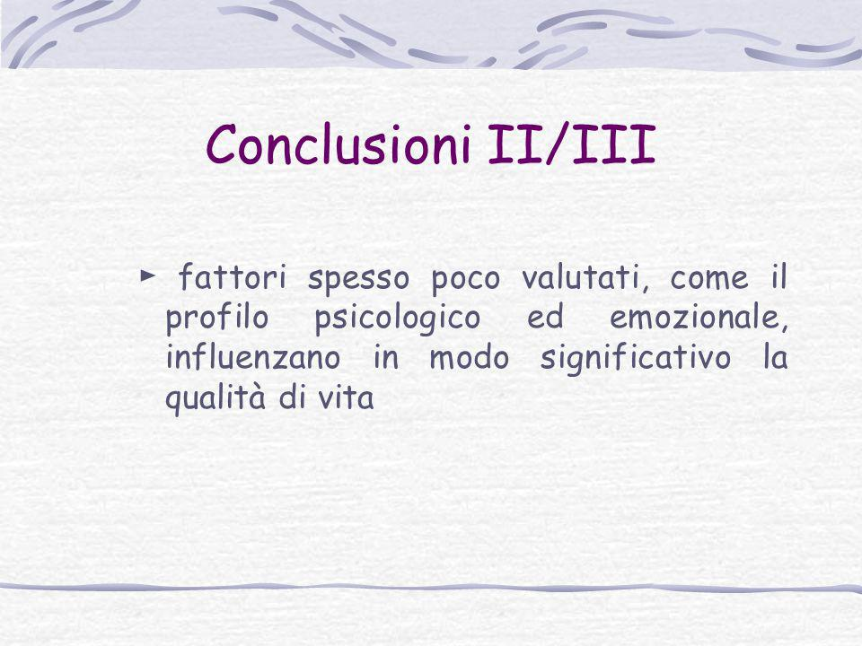 Conclusioni II/III ► fattori spesso poco valutati, come il profilo psicologico ed emozionale, influenzano in modo significativo la qualità di vita