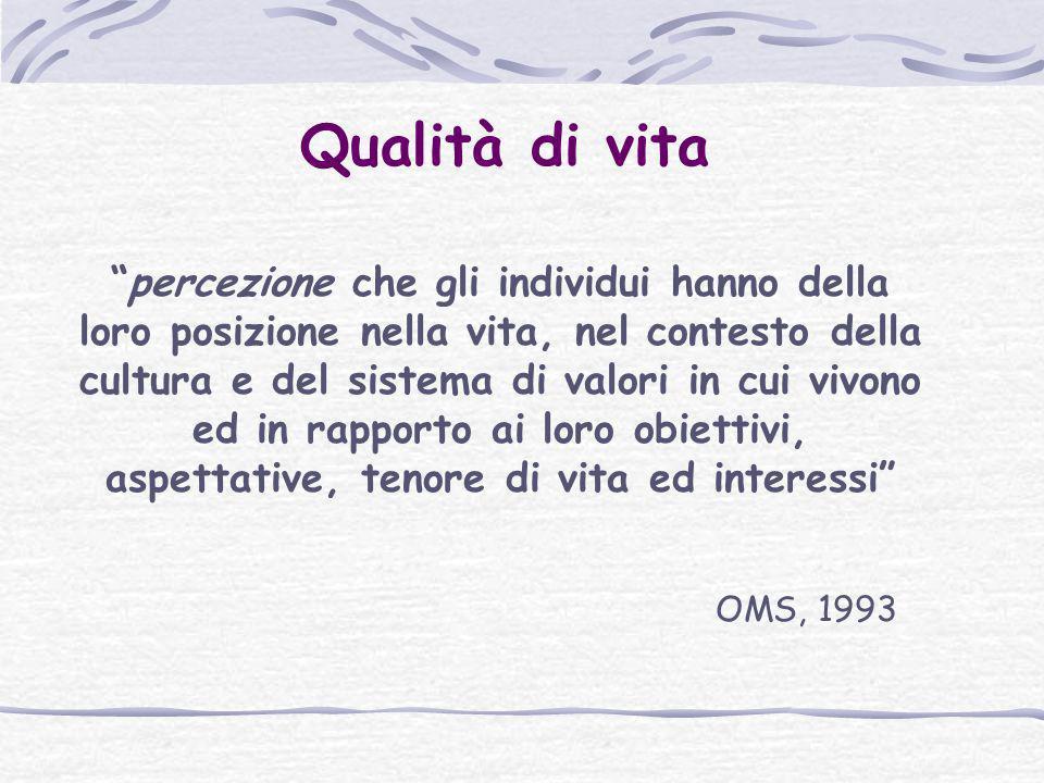 """Qualità di vita """"percezione che gli individui hanno della loro posizione nella vita, nel contesto della cultura e del sistema di valori in cui vivono"""
