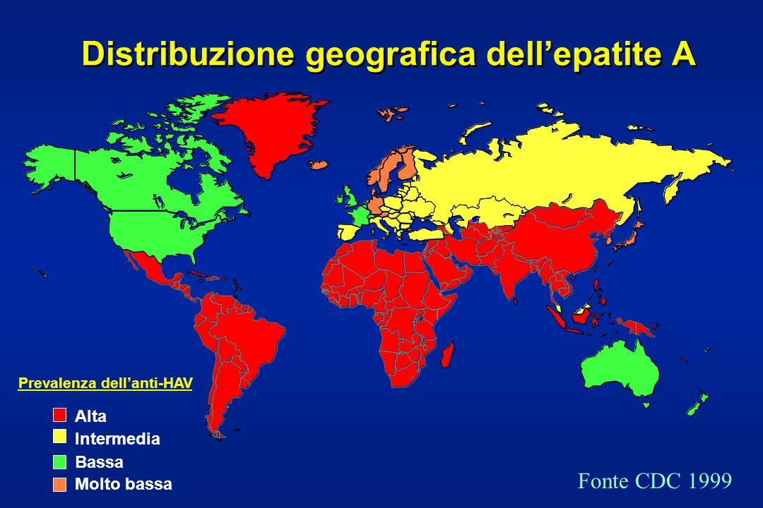 Distribuzione geografica dell'epatite A Fonte CDC 1999