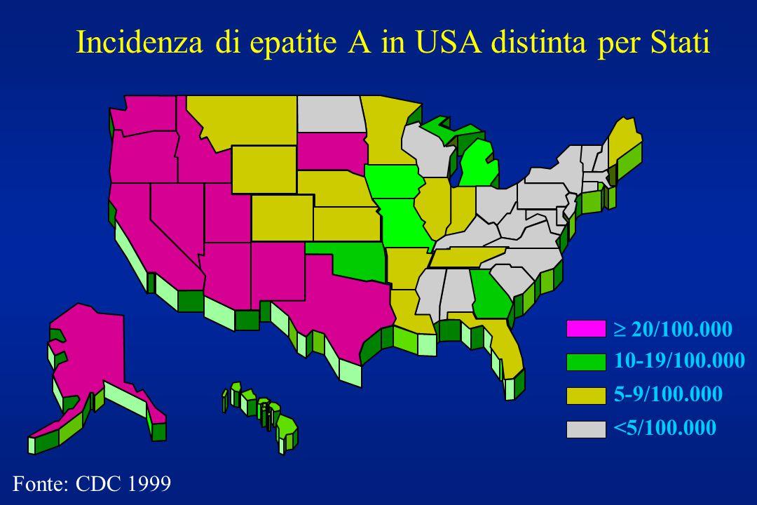 Incidenza di epatite A in USA distinta per Stati  20/100.000 10-19/100.000 5-9/100.000 <5/100.000 Fonte: CDC 1999