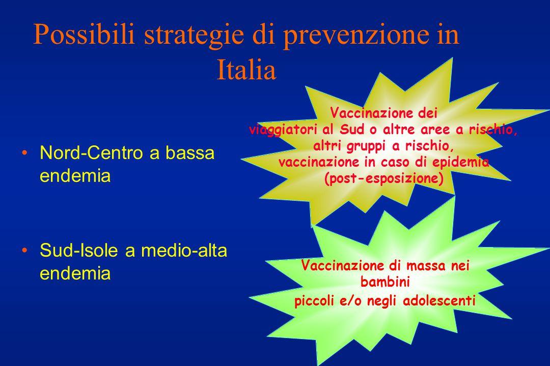 Possibili strategie di prevenzione in Italia Nord-Centro a bassa endemia Sud-Isole a medio-alta endemia Vaccinazione dei viaggiatori al Sud o altre aree a rischio, altri gruppi a rischio, vaccinazione in caso di epidemia (post-esposizione) Vaccinazione di massa nei bambini piccoli e/o negli adolescenti