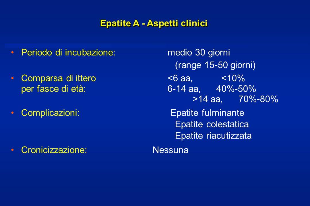 Epatite A - Aspetti clinici Periodo di incubazione:medio 30 giorni (range 15-50 giorni) Comparsa di ittero 14 aa, 70%-80% Complicazioni: Epatite fulminante Epatite colestatica Epatite riacutizzata Cronicizzazione: Nessuna