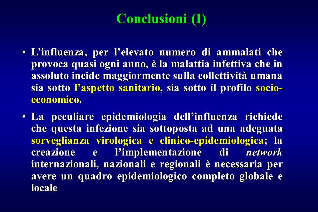 Conclusioni (I) L'influenza, per l'elevato numero di ammalati che provoca quasi ogni anno, è la malattia infettiva che in assoluto incide maggiormente