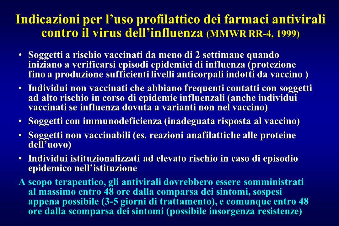 Indicazioni per l'uso profilattico dei farmaci antivirali contro il virus dell'influenza (MMWR RR-4, 1999) Soggetti a rischio vaccinati da meno di 2 s