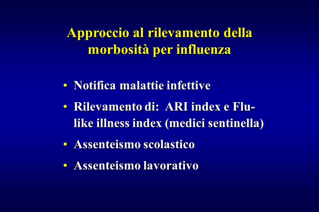 Studi di efficacia della vaccinazione influenzale AutoreAnnoPopolazioneTipo di Diagnosi diTasso di studioinfluenzaprotezione Davenport1973Reclute USAVaccinati/Virologico e 70-90% Placebo sierologico Meiklejohn1983Reclute Vaccinati/Virologico e 72-95% Aviazione USAPlacebo sierologico Hammond1978Studenti Vaccinati/Virologico e 65-80% AustralianiPlacebo sierologico Cuneo-Crovari1982Anziani - Italia Vaccinati/Virologico e 79% Non Vacc sierologico Keitel1988Adulti 30-60 a.Vaccinati/Virologico e 55% I USAPlacebo sierologico73% MC Govaert1994Anziani - OlandaVaccinati/Virologico e 58% Placebo sierologico Edwards1994Adulti normali Vaccinati/Virologico e 74-76% USAPlacebo sierologico69-73% Wilde1999Operatori Sanitari Vaccinati/Sierologico 88% USANon Vacc