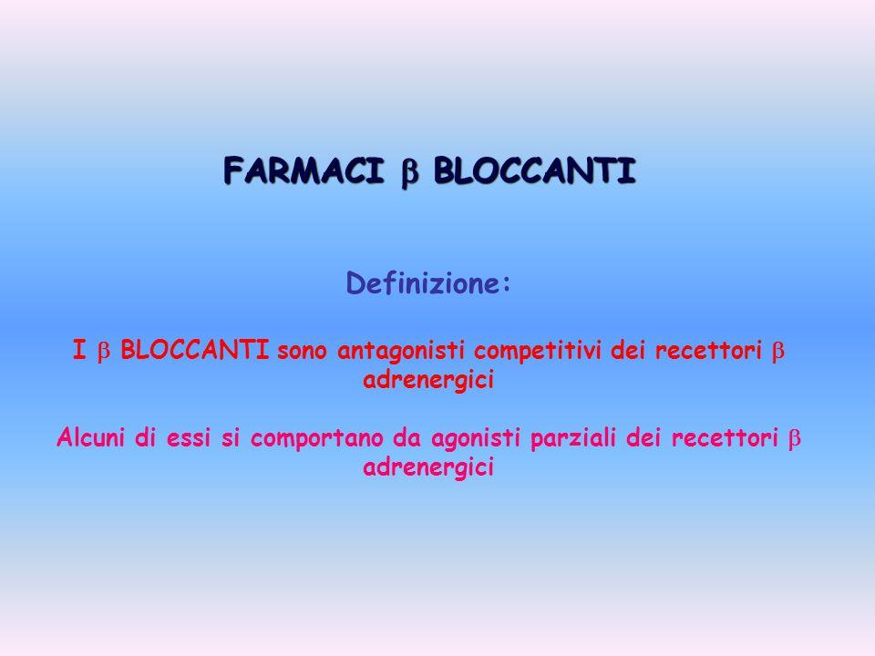 FARMACI  BLOCCANTI Definizione: I  BLOCCANTI sono antagonisti competitivi dei recettori  adrenergici Alcuni di essi si comportano da agonisti parzi
