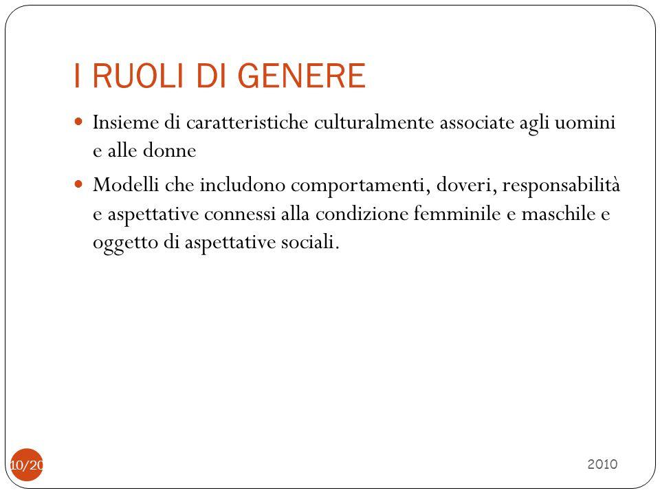 I RUOLI DI GENERE 2010 Insieme di caratteristiche culturalmente associate agli uomini e alle donne Modelli che includono comportamenti, doveri, respon