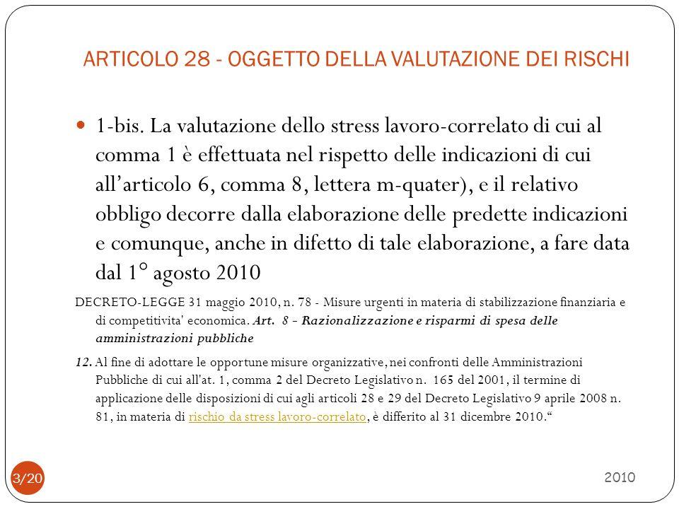 ARTICOLO 28 - OGGETTO DELLA VALUTAZIONE DEI RISCHI 2010 1-bis. La valutazione dello stress lavoro-correlato di cui al comma 1 è effettuata nel rispett