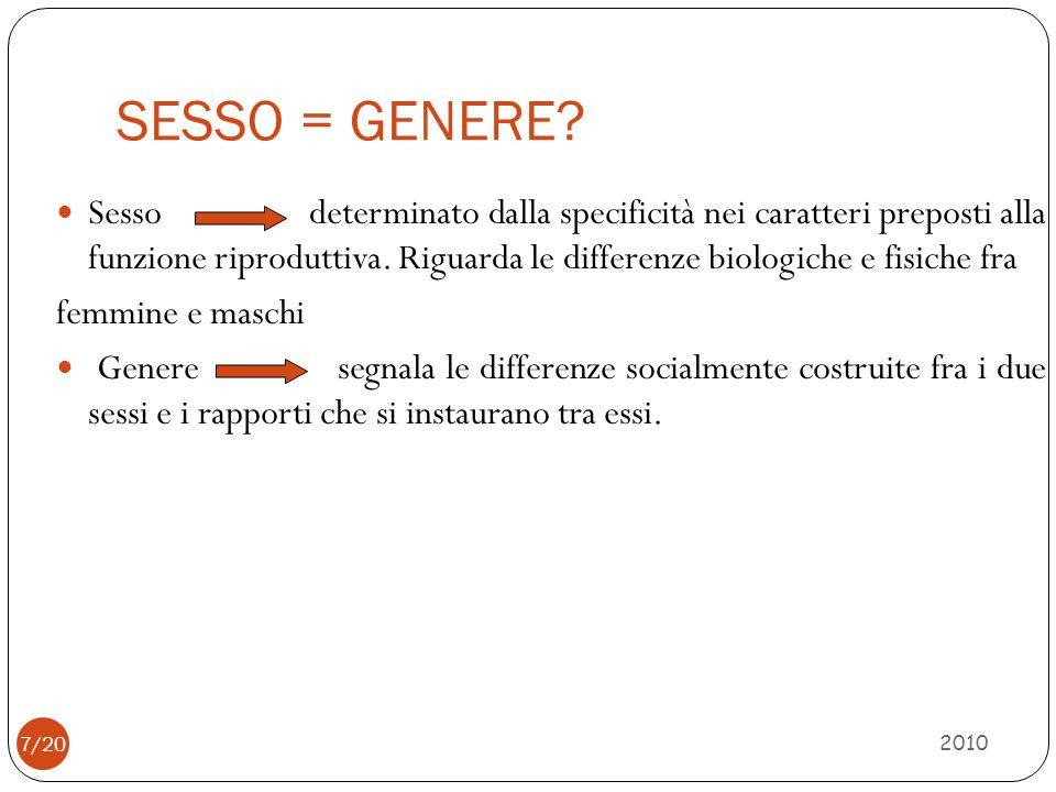 SESSO = GENERE? 2010 Sesso determinato dalla specificità nei caratteri preposti alla funzione riproduttiva. Riguarda le differenze biologiche e fisich